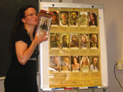 Jeanne Cavelos and her new Frodo action figure, plus a Lord of the Rings poster signed by the 2004 Odyssey class